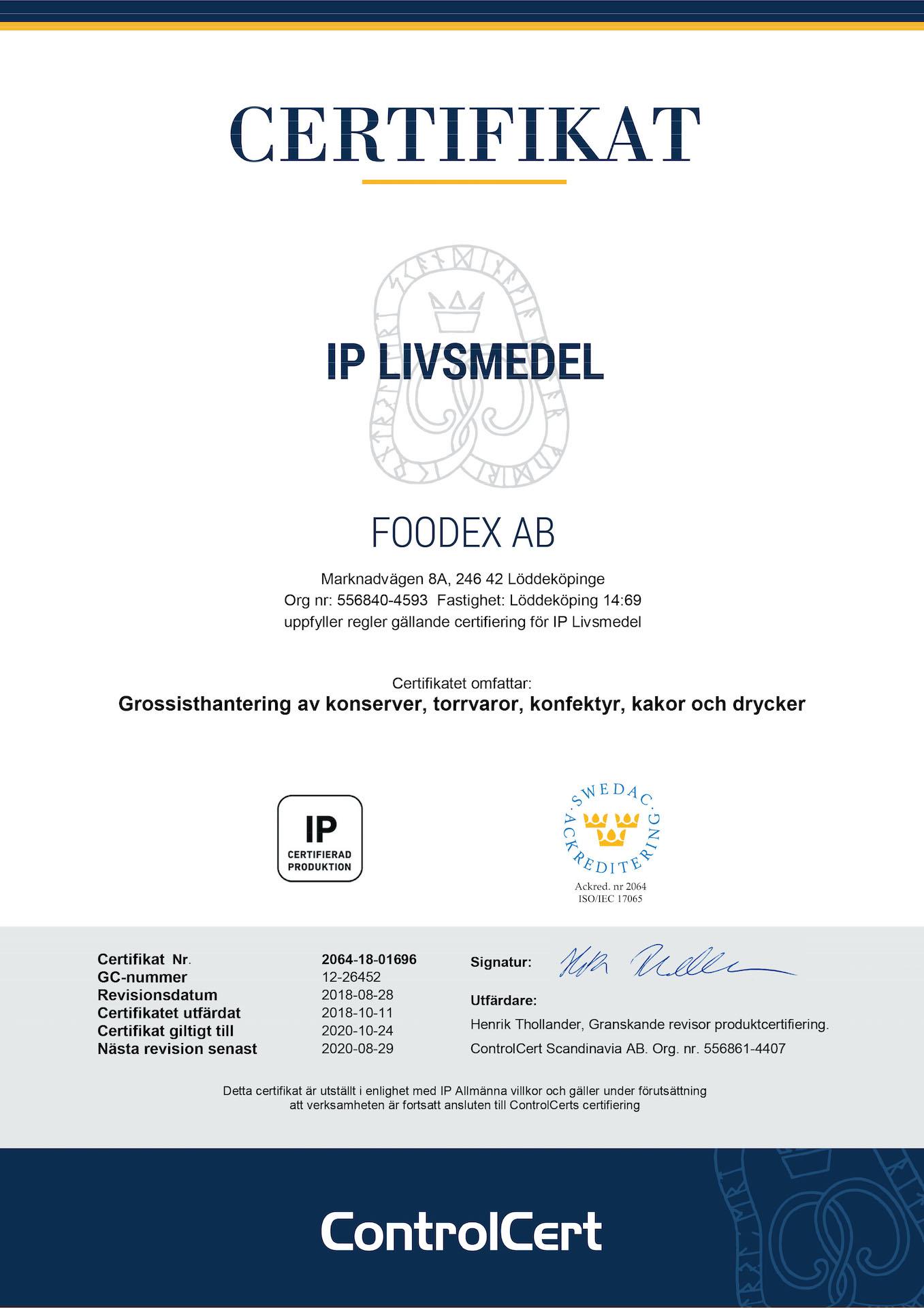 Certifikat IP Livsmedel Foodex AB 2018-10-11